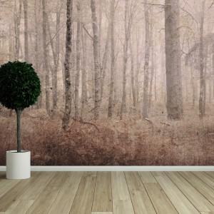 Nostalgiczna tapeta marki House Frame, dostępna w sklepie Wzorywidze.pl. Zmysłowa dekoracja przypadnie do gustu zwłaszcza miłośnikom jesieni. Sprawdzi się w salonie wykończonym z wykorzystaniem naturalnych materiałów. Fot. wzorywidze.pl.