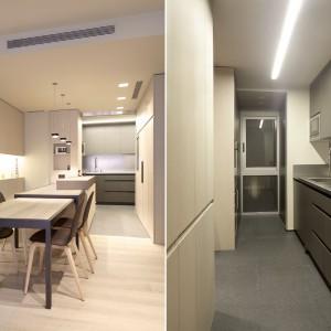 Stół kuchenny można rozłożyć, powiększając go o dodatkową przestrzeń np. do podejmowania gości. Projekt: Coblonal Arquitectura. Fot. Coblonal Arquitectura.