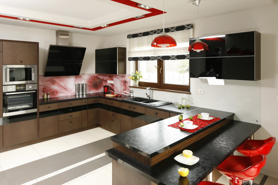 P wysep pe ni rol pi kna kobieca kuchnia tak for Projekty kuchni z salonem