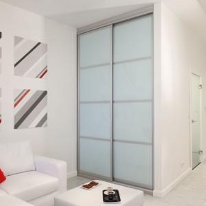 W niedużej kawalerce biel optycznie powiększyła przestrzeń mieszkania, a sprytne rozwiązania pozwoliły ukryć całkiem dużą szafę tuż przy kanapie. Projekt: Michał Mikołajczak. Fot. Monika Filipiuk-Obałek.