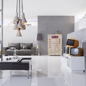 tradycyjne formy nawiązujące z jednej strony do stylu glamour z drugiej do retro ubrano w nowoczesne loftowe szarości. Fot. Kare Design.