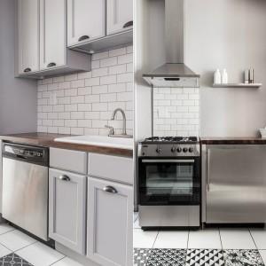 Sprzęt AGD utrzymano w typowo amerykańskim stylu - funkcjonalność, zamknięta w stal. Koresponduje z nią praktyczna, wisząca, stalowa półka na podręczne przyprawy. Stalowe elementy otaczają piękne ceramiczne płytki: tradycyjne kafle na ścianie oraz stylizowane na cementowe, płytki ceramiczne z iberyjskim wzorem na podłodze. Projekt: Fanny Abes, The New Design Project. Fot. Alan Gastelum.