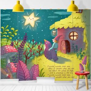 Tapeta Twinkle Twinkle marki Milton&King dedykowana dzieciom. Kolorowa grafika powstała z inspiracji słynną piosenką o trzech małych świnkach. Fot. Milton&King.