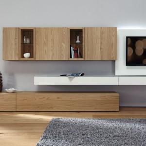 Modułowe meble salonowe z kolekcji Neo marki Hulsta w nowej drewnianej odsłonie. Fot. Hulsta.