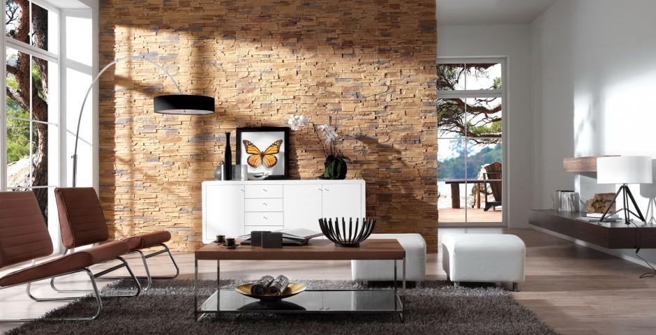 Wykonana z betonu płytka elewacyjna Roma w kolorze Karmel, która wiernie imituje bloki z naturalnego kamienia. Fot. Stone Master.