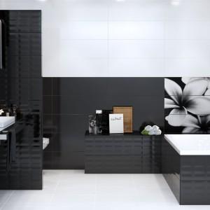 """Płytki w czerni i bieli z kolekcji Prêt-à-Porter Opoczno zachwycają niezwykłymi dekoracjami: mozaikowymi, strukturalnymi i kwiatowymi. Płytki strukturalne """"pillow"""" i """"textile""""  dodają charakteru. Fot. Opoczno."""