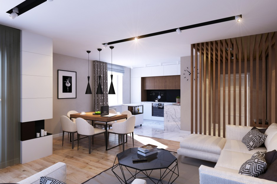 Salon, jadalnię i kuchnię połączono w jedną, otwartą przestrzeń. Strefę salonu od holu oddziela ażurowy parawan, który jednocześnie pełni dekoracyjną rolę. Projekt: Studio projektowe Geometrium.
