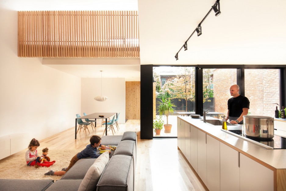 Du kuchni otwarto na nowoczesny dom jednorodzinny for The family room el segundo