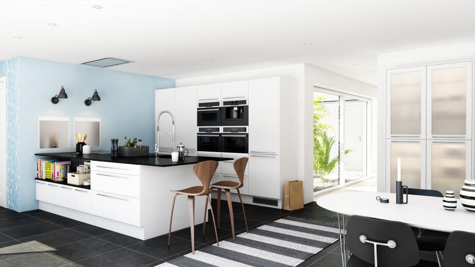 Biały, obszerny półwysep Elegancka, biała kuchnia   -> Biala Kuchnia Elegancka