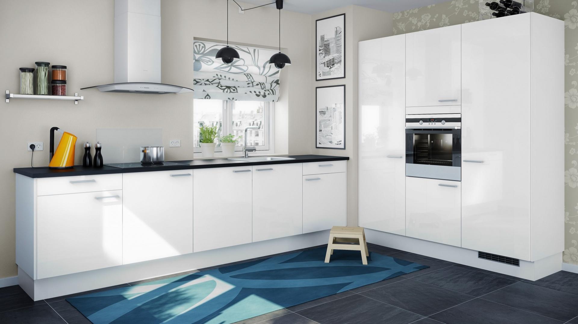 Białe meble utrzymane we Elegancka, biała kuchnia   -> Kuchnia Biala Dąb