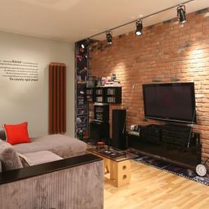 Nowoczesna, techniczna lampa podłogowa znakomicie komponuje się z oświetleniem halogenowym, podkreślając loftowy styl pokoju. Projekt: Iza Szewc. Fot. Bartosz Jarosz.
