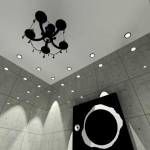 Ściany łazienki pokryte są gresem o strukturze betonu. Sufit zdobi piękny żyrandol, który wprowadza do wnętrza styl glamour. Projekt: Wioleta Bednarczyk, pracownia Glamloft. Fot. Wioleta Bednarczyk.