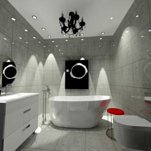 Łazienkę także zaprojektowano w stylu glamloft. Wnętrze jest połączeniem minimalizmu i surowości z eleganckimi dodatkami, np. czerwonym stołkiem. Projekt: Wioleta Bednarczyk, pracownia Glamloft. Fot. Wioleta Bednarczyk.