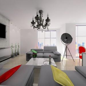 W mieszkaniu uwagę zwraca ciekawe oświetlenie: pasująca do wnętrz typu loft lampa fotograficzna oraz piękny żyrandol w stylu glamour. Projekt: Wioleta Bednarczyk, pracownia Glamloft. Fot. Wioleta Bednarczyk.