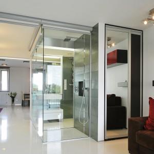 Dzięki przeszkleniu części łazienki, mieszkanie zyskało nowoczesny charakter i wrażenie większej przestrzeni. Projekt: RS+ Architekci. Fot. Tomasz Zakrzewski.