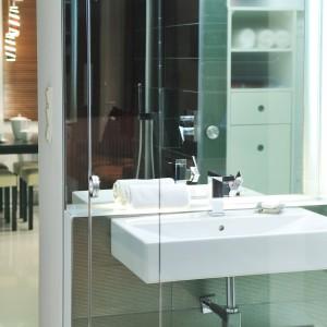 Widoczne przez przeszklone ścianki wyposażenie łazienki również utrzymano w nowoczesnej stylistyce. Geometryczne kształty i proste linie harmonizują z prostokątnymi, dużymi przeszkleniami. Projekt: RS+ Architekci. Fot. Tomasz Zakrzewski.
