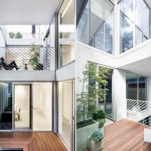 Wewnątrz bryły budynku poprowadzono korytarz przestrzeni, przez który światło wędruje i wpada do wszystkich, sąsiadujących z dwukondygnacyjnym patio pomieszczeń. Projekt: Thomas Balaban Architecture. Fot. Adrien Williams.