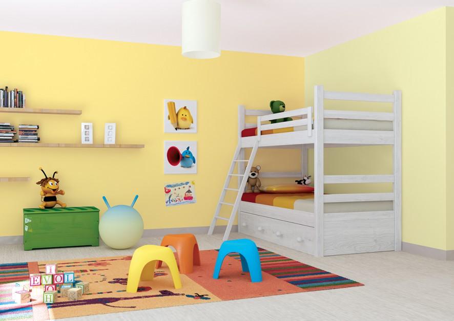 Ciekawy efekt daje wykorzystanie w pokoju dziecka różnych odcieni jednej barwy. Można np. pomalować każdą ścianę na inny, wesoły kolor. Farba dostępne w ofercie marki Jedynka. Fot. Jedynka Ogród Barw.
