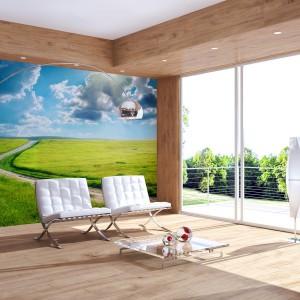 Słoneczny wiejski pejzaż optycznie powiększy wnętrze i wprowadzi do niego radość i wiosnę. Wzór dostępny w sklepie Foteks. Fot. Foteks.