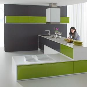Delikatnie zgniła zieleń w towarzystwie bieli i szarości to idealne połączenie, pasujące jak ulał do modernistycznym, minimalistycznych kształtów. Fot. Atlas Meble Kuchenne, kuchnia Patrycja.