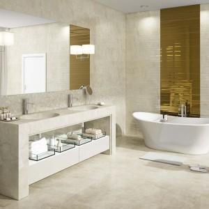 Kinkiety umieszczone po obu stronach lustra zapewniają odpowiednie oświetlenie strefy umywalek. Fot. Aparici.