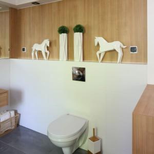 Na ścianie ze stelażem wc powtórzono delikatną formę oświetlenia. W tym miejscu pełni rolę czysto dekoracyjną. Projekt: Małgorzata Błaszczak. Fot. Bartosz Jarosz.