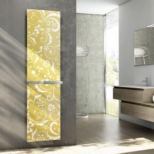 Dekoracyjny panel z tkaninowym wzorem ma grzejnik Iris Cordivari. Fot. Cordivari.