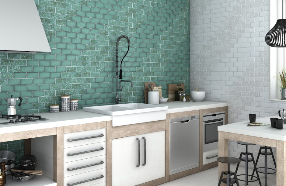 Płytki ceramiczne na ścianę Modne płytki najnowsze   -> Kuchnia Zielone Kafelki