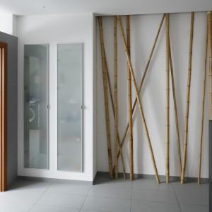Miejsce przy ścianie wykorzystano po części praktycznie jak i w celach dekoracyjnych. Tę pierwszą funkcję pełni szafa z frontami z mlecznego szkła. Szafa oferuje bardzo dużo miejsca, jej przestrzeń dzielą liczne półki. Obok ustawiono dekoracyjne łodygi bambusów. Projekt: Piotr Stanisz. Fot. Bartosz Jarosz.