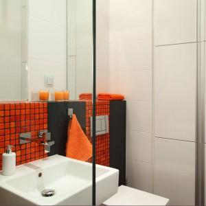 W małej łazience wygospodarowano sporo miejsca do przechowywania. Zabudowa meblowa zajmuje całą szerokość i wysokość ściany. Podzielona została na segmenty, wszystkie zamknięte frontami z białego MDF-u.  Projekt:  Michał Mikołajczak. Fot. Monika Filipiuk-Obałek.