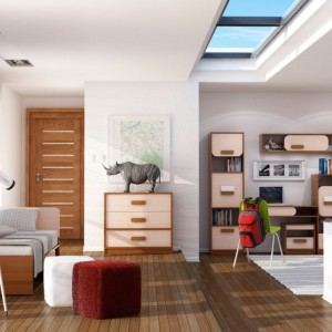 Jeśli wnętrze ma okno dachowe, dobrze jest ustawić biurko bezpośrednio pod nim. Taka lokalizacja rozwiąże problem oświetlenia. Fot. Abra Meble.