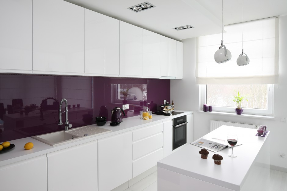 Ścianę nad blatem Ściana w kuchni wybierz szkło nad   -> Biala Kuchnia Szary Lacobel