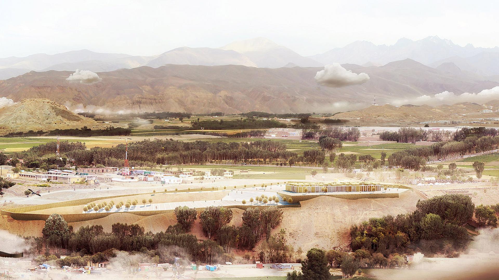Centrum Kultury w Bamiyan w Afganistanie. Rys. BXBstudio