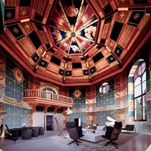 W najbardziej luksusowym apartamencie na ostatnim piętrze inwestycji Angel Wawel ściany i piękne sklepienie kolebkowe zdobią zabytkowe freski, autorstwa młodopolskiego artysty Jana Bukowskiego. Fot. Angel Poland Group.