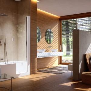 Elle Door marki Glass to rozwiązanie typu kombi. Wanna oraz szklane drzwi w obudowie  tworzą całość. Fot. Glass.