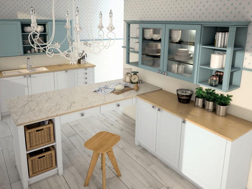 Biała wyspa i dolna Jasna kuchnia z drewnianym   -> Jasna Kuchnia Z Jasnym Blatem