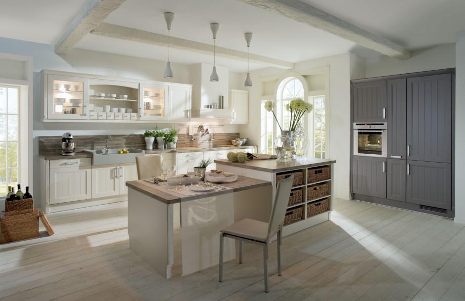 Piękna, klasyczna kuchnia, Jasna kuchnia z drewnianym   -> Kuchnia Jasna Szara