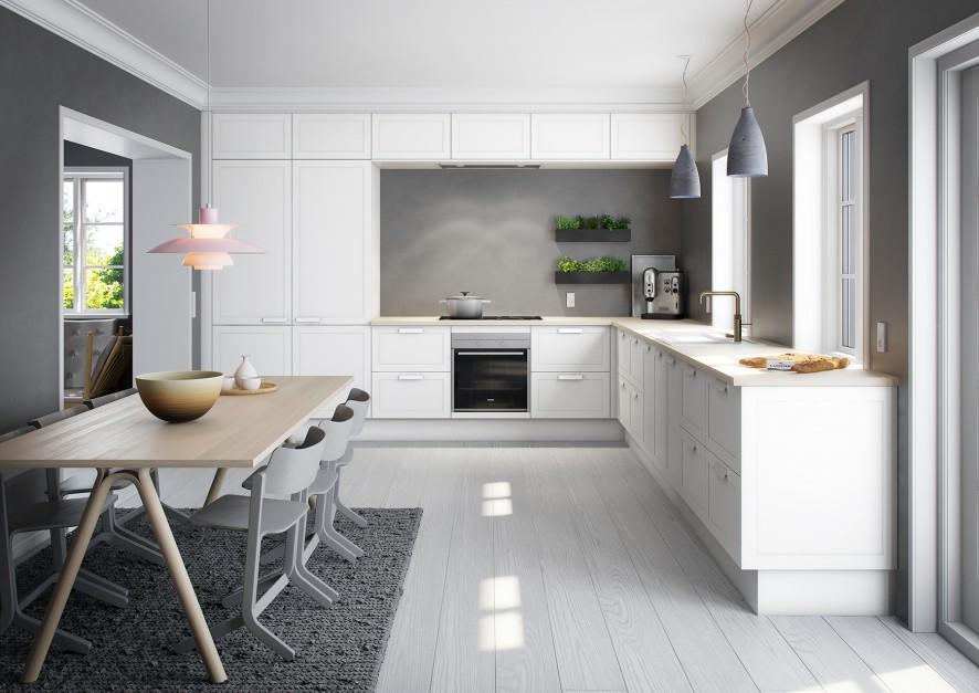 Bielone drewno na podłodze Jasna kuchnia z drewnianym   -> Kuchnia Jasna Szara