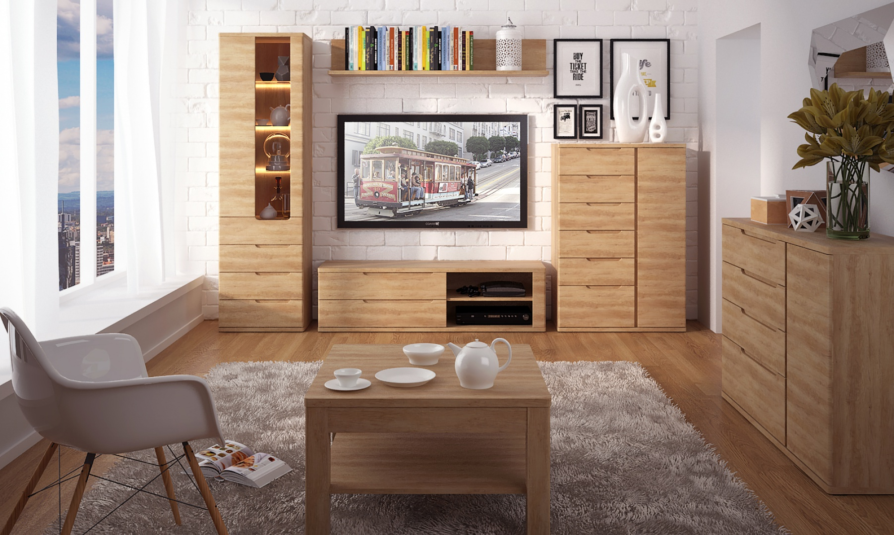 Kolekcja mebli Contra to piękno i elegancja inspirowana naturalnym drewnem. Oryginalna dwukolorowa płyta, z której wykonane są meble dostępna w kolorze brązowym lub w dekorze Country Grey. Fot. Meble Wójcik.