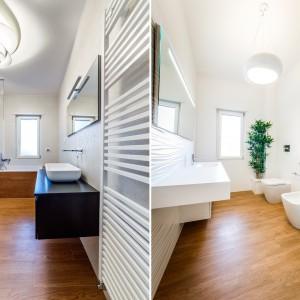 W łazienkach - konsekwentnie w stosunku do całego wnętrza - dominują jasne kolory i duże połacie drewna. Obecność naturalnego materiału nadaje przestrzeniom charakter ekskluzywnego salonu kąpielowego. Projekt i zdjęcia: Marco Marotto, Paola Oliva, Brain Factory.