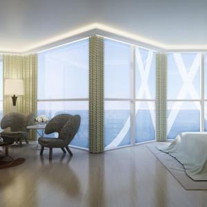 Duże panoramiczne okna wpuszczają do wnętrz naturalne światło, sprzyjające błogiemu relaksowi. Projekt wnętrza: Alberto Pinto. Fot. Marzocco Group.