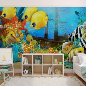 Chyba każdy z nas chciałby podarować ukochanemu dziecku złotą rybkę. Jednak póki co możemy mu zafundować fototapetę z żółtymi rybkami. Fot. Minka.