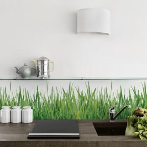 Ścianę nad blatem można pokryć kolorowym motywem w całości lub też zaznaczyć mocniejszym kolorem jej część, pozostawiając resztę powierzchni w bieli. Tutaj zastosowano ciekawy efekt - zielona trawa zdaje się wyrastać z blatu kuchennego. Fot. Bigtrix.