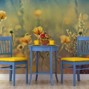 Fototapeta ze zdjęciem łąki, porośniętej pięknymi żółtymi kwiatami. Z motywem na ścianie współgrają obicia krzeseł i porcelana. Fot. Minka.
