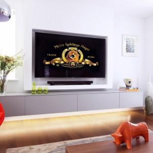 Jeden ze słabo oświetlonym pokoi przemieniono w domową salę kinową. Telewizor zajął centralne miejsce, ale nie przytłacza przestrzeni dzięki wpasowaniu go w białą zabudowę. Projekt: LLI Design. Fot. Zdjęcia: Alex Maguire Photography.