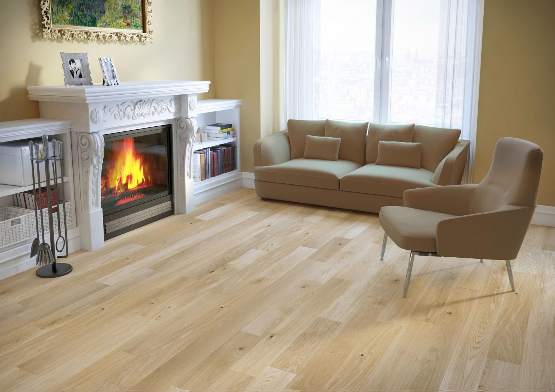Lita podłoga drewniana z oferty marki  Baltic Wood w wybarwieniu riesling. Fot. Baltic Wood.