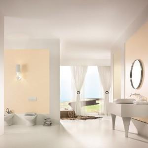 Pastelowa kolorystyka doskonale sprawdzi się zarówno w dużej, jak i małej łazience. Na zdjęciu: ściany pomalowane farbą marki Magnat. Fot. Magnat.