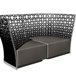 Zaprojektowana dla Busnelli przez Franco Poli, niesamowita sofa Divano LadyB z przepięknym, ażurowym oparciem. Fot. Busnelli.