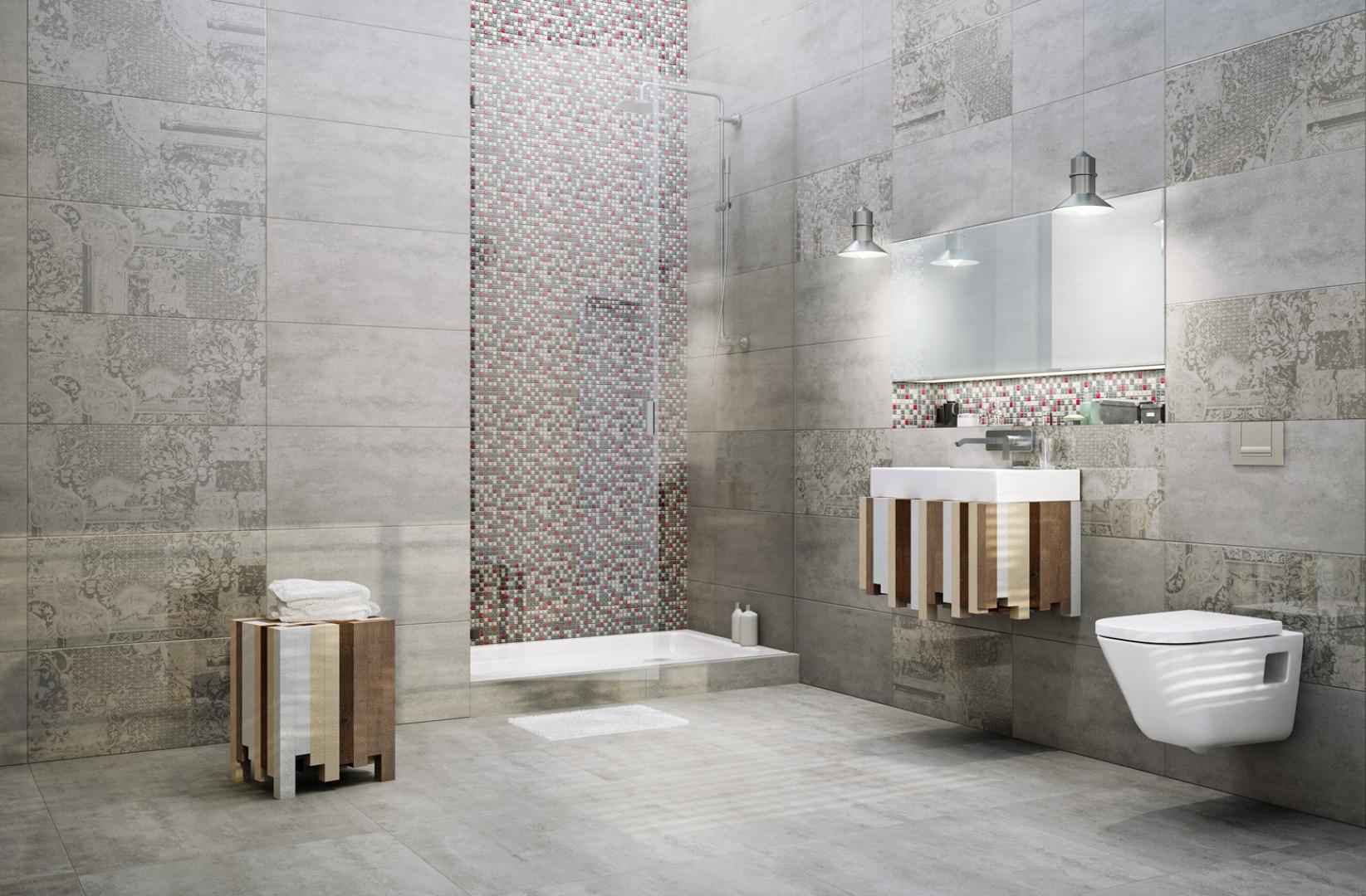 Płytki z kolekcji Loft doskonale sprawdzą się w łazienkach i salonach kąpielowych osób, które marzą o nowoczesnych, artystycznych wnętrzach w klimacie starej fabryki. Fot. Ceramstic.