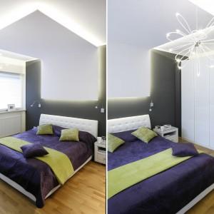 Sypialnia kolorystycznie nawiązuje do części dziennej, stąd biele, kolor kremowy oraz grafit, który został zastosowany także w zabudowie kuchni. Projekt: Marta Kilan. Fot. Bartosz Jarosz.
